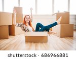 woman sitting in carton box ... | Shutterstock . vector #686966881