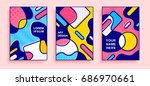 geometric bright pop art... | Shutterstock .eps vector #686970661