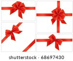 big collection of red gift bows.... | Shutterstock .eps vector #68697430