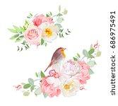 spring delicate bouquets vector ... | Shutterstock .eps vector #686975491