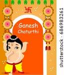 cute bal ganesha character... | Shutterstock .eps vector #686983261