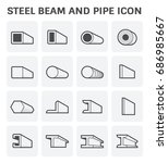 vector icon of steel pipe and... | Shutterstock .eps vector #686985667
