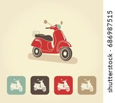 scooter motorbike retro icons....   Shutterstock .eps vector #686987515