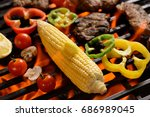 grilled meat steak with... | Shutterstock . vector #686989045