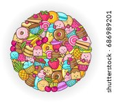 funny flat icons of donuts ... | Shutterstock .eps vector #686989201