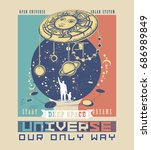 universe poster. human and... | Shutterstock .eps vector #686989849