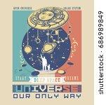 universe poster. symbol solar... | Shutterstock .eps vector #686989849