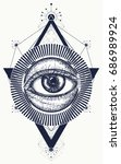 all seeing eye tattoo art... | Shutterstock .eps vector #686989924