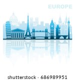 architectural sights of europe | Shutterstock .eps vector #686989951