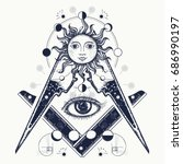 masonic symbol tattoo and t... | Shutterstock .eps vector #686990197