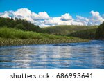 fast and clean forest river... | Shutterstock . vector #686993641