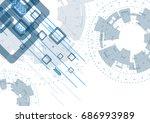 blue flat hi tech abstract... | Shutterstock .eps vector #686993989
