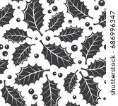 winter black and white seamless ...   Shutterstock .eps vector #686996347