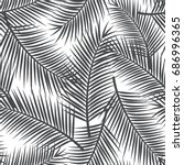 black and white palm leaf... | Shutterstock .eps vector #686996365