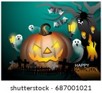 halloween paper cut art | Shutterstock .eps vector #687001021