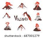 Volcano Logo Set. Volcanic...