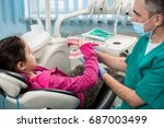 girl in dentist chair educating ... | Shutterstock . vector #687003499