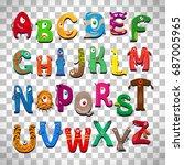 monster alphabet  vector funny... | Shutterstock .eps vector #687005965