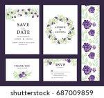 wedding invitation card set... | Shutterstock .eps vector #687009859