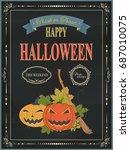 happy halloween vintage night... | Shutterstock .eps vector #687010075