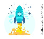 space rocket flying in sky ... | Shutterstock .eps vector #687013645