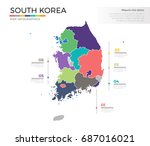 south korea country map... | Shutterstock .eps vector #687016021