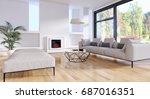 modern bright living room ... | Shutterstock . vector #687016351