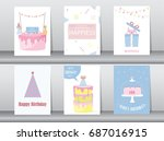 set of birthday invitations... | Shutterstock .eps vector #687016915