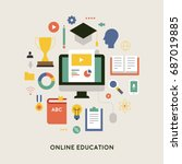 education object icons vector... | Shutterstock .eps vector #687019885