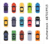 various cars top view vector... | Shutterstock .eps vector #687019915
