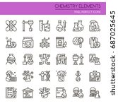 chemistry elements   thin line... | Shutterstock .eps vector #687025645