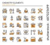 chemistry elements   thin line... | Shutterstock .eps vector #687025699