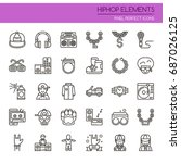 hiphop elements   thin line and ... | Shutterstock .eps vector #687026125