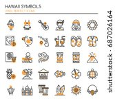 hawaii symbols   thin line and...   Shutterstock .eps vector #687026164