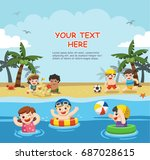 happy kids play and swim at the ... | Shutterstock .eps vector #687028615