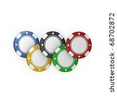 Five Olympic Fiches On White...