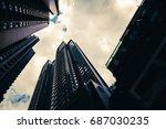 low angle skyscraper in hong... | Shutterstock . vector #687030235