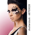 portrait of a beautiful woman with Creative Fashion Makeup.Holiday Make-up - stock photo