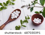 natural organic pills with... | Shutterstock . vector #687030391