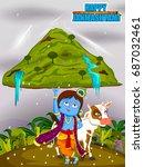 krishna lifting mountain on... | Shutterstock .eps vector #687032461