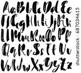 hand drawn dry brush font.... | Shutterstock .eps vector #687034615