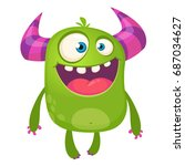 cartoon green horned monster.... | Shutterstock .eps vector #687034627