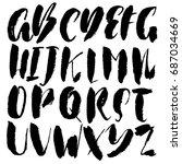 hand drawn dry brush font....   Shutterstock .eps vector #687034669
