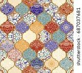 seamless ceramic tile with...   Shutterstock .eps vector #687037681