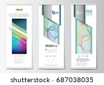set of roll up banner stands ... | Shutterstock .eps vector #687038035