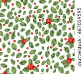 holly berry. seamless pattern.... | Shutterstock .eps vector #687039595