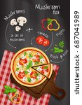 mushroom pizza on the... | Shutterstock .eps vector #687041989