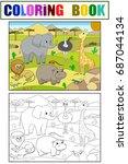 animals of africa savanna... | Shutterstock .eps vector #687044134