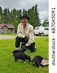 farmer saam with his lapland... | Shutterstock . vector #687045091