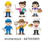 kid set of different... | Shutterstock .eps vector #687045805
